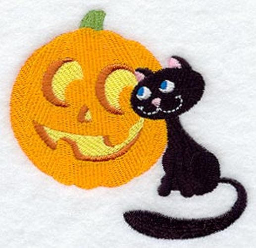 "Pumpkin, Jack-o-Lantern, Black Cat Halloween Embroidered Patch 4.9"" x 4.8"""