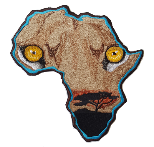 "Africa Lion Eyes Embroidered Patch approx 8""x8"""