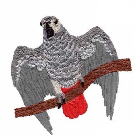 "African Grey Parrot Bird Embroidered Patch 4.5"" x 4.3"""