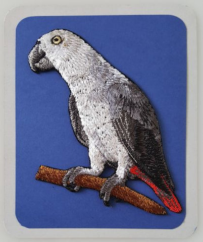 African Grey Parrot Bird Embroidered Patch