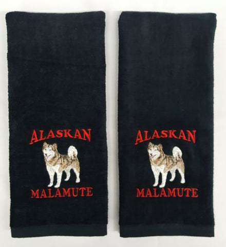 Alaskan Malamute Full Body Embroidered Hand Towels