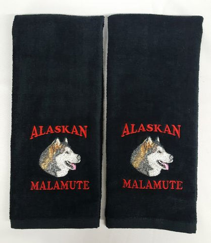 Alaskan Malamute, Embroidered Hand Towels