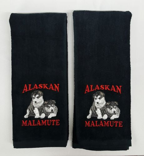Alaskan Malamute Puppies, Embroidered Hand Towels