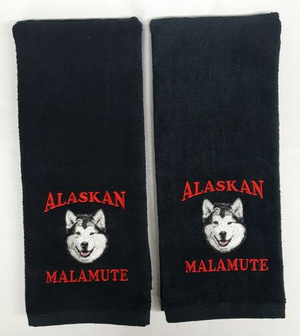 Alaskan Malamute Embroidered Hand Towels