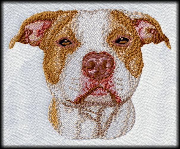 "Pit Bull, American Pitbull Terrier Dog Orange & White Embroidered Patch 3"", Iron on or sew on"