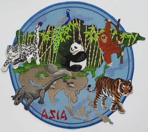Asia Asian Tiger Panda Peacock Orangutan Snow Leopard Komodo Dragon Embroidered Patch
