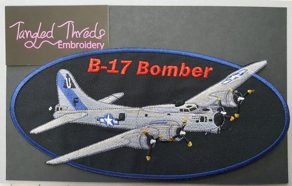 "B-17 Bomber Military Plane  Embroidered Patch 9.5""x 4.5"" Free USA Shipping"
