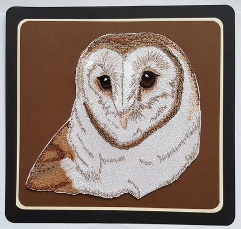 "Owl, Barn Owl, Birds of Prey, Embroidered Patch 5.7""x7.1"""