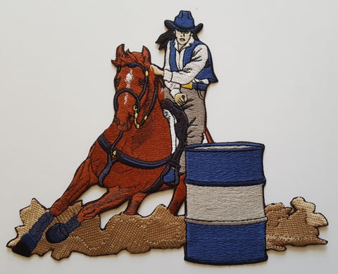 "Barrel Racer Embroidered Patch 9""x 7.8"""