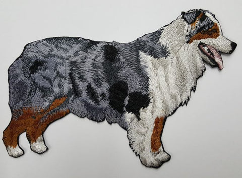 Blue Merle Aussie Australian Shepherd Dog Embroidered Patch