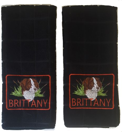 Brittany Dog Embroidered Hand Towels 2 pack