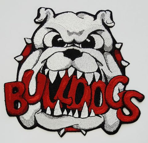 "Bulldogs Embroidered Patch 6"" x 5.5"" all colors Free USA Shipping"