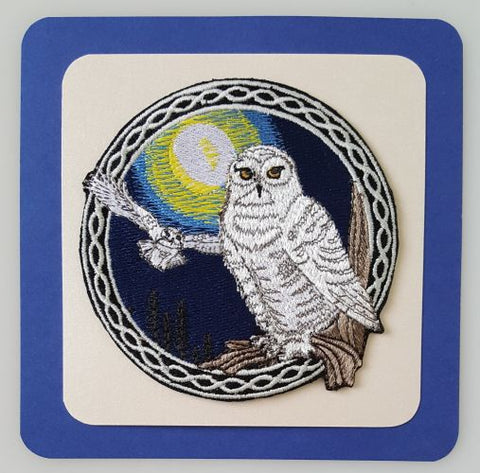 "Snowy Owls, Birds of Prey, Celtic Embroidered Patch 3.9"" x 3.9"""