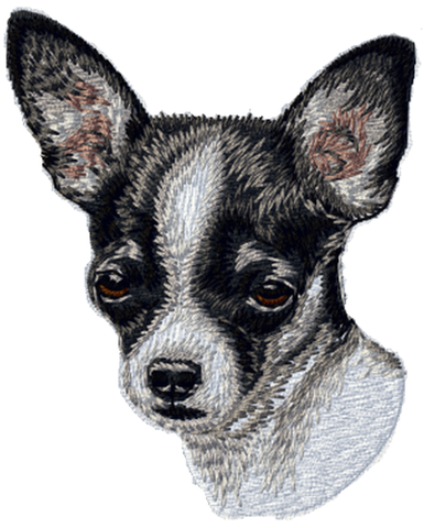 "Chihuahua Dog Black & White Embroidered Patch Appros 3"" Free USA Shipping"