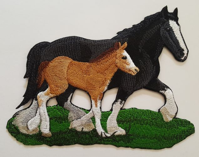 Clydesdale Draft Horses Mom & Colt/Filly Embroidered Patch