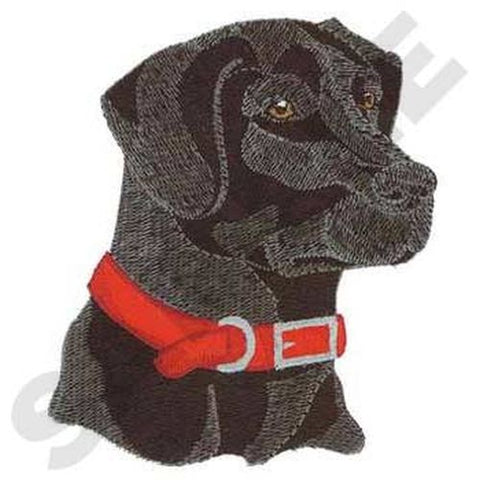"Labrador Retriever Head, Dog, (Black) Embroidered Patch 4.5"" x 4.9"""