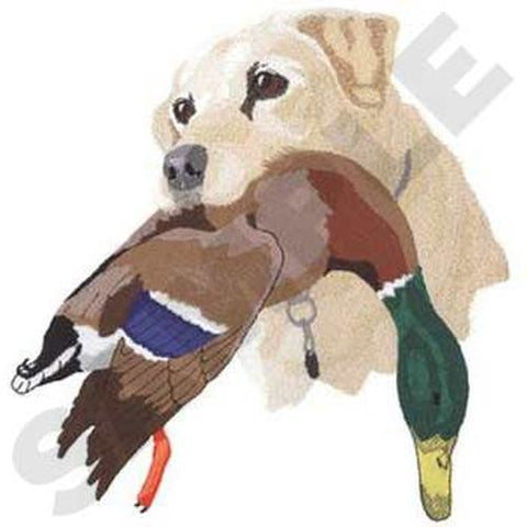 "Labrador Dog With Duck, Embroidered Patch 8.7"" x 9"""