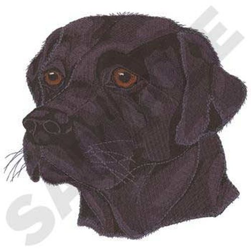 "Labrador Retriever Head, Dog, (Black) Embroidered Patch 7.5"" x7.2"""
