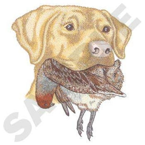 "Labrador Dog With Partridge Bird, Embroidered Patch 6.5"" x 7.5"""
