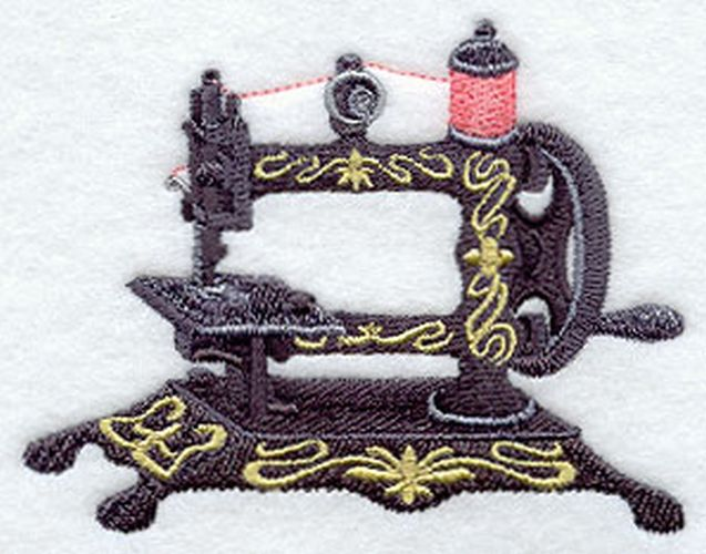 Antique Sewing Machine Embroidered Patch 3.8 x 3