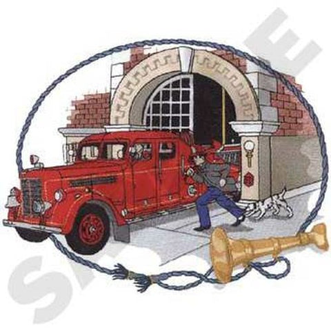 "Antique Fire Station Fire Truck Scene Embroidered Patch Size 10""x 7.7"""