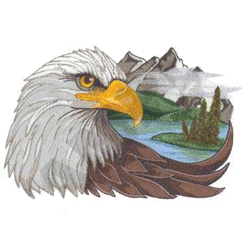 "Eagle Scene Embroidered Patch 7.9"" x 5.5"" FREE USA SHIPPING"