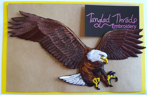 "Bald Eagle  Embroidered Patch 9"" x 4.7"""