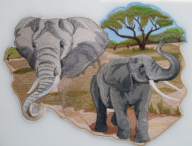 "Elephants Elephant Spirit Embroidered Patch 11"" x 8.4"""