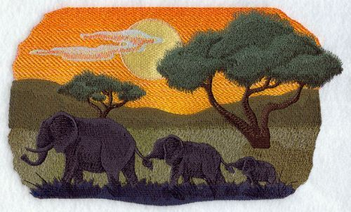 African Elepant Trio Scene Embroidered Patch 2 sizes