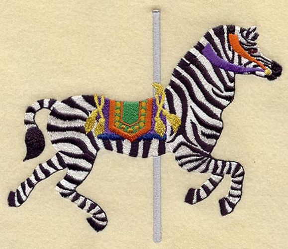 Zebra Carousel Embroidered Patch