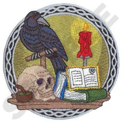 "Raven, Skull, Spells, Embroidered Patch 3.9"" x 3.9"""