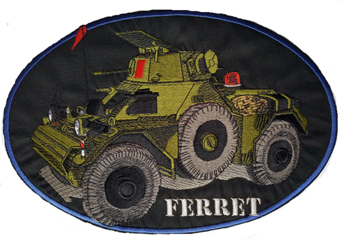 "Ferret Armoured Car, Scout Car Embroidered Patch 11"" x 7.5"" Free USA Shipping"