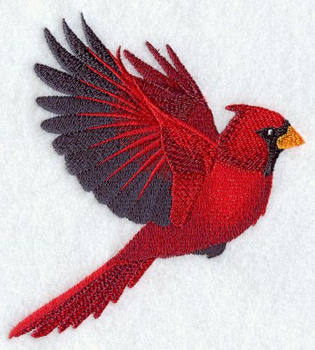 Cardinal Bird Flying Embroidered Patch