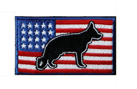 "German Shepherd USA Flag Embroidered Patch Approx Size 2""x3"""