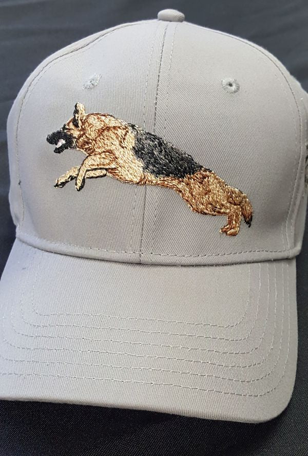 German Shepherd Dog Jumping, Embroidered Hat