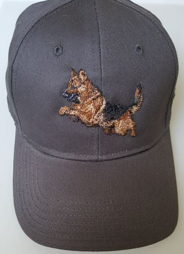 German Shepherd Dog Jumping GSD Dog Embroidered on a Charcoal Hat