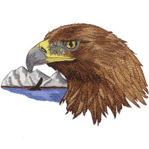 "Golden Eagle Scene (085) Embroidered Patch 6.9"" x 4.9"" Free USA Shipping"