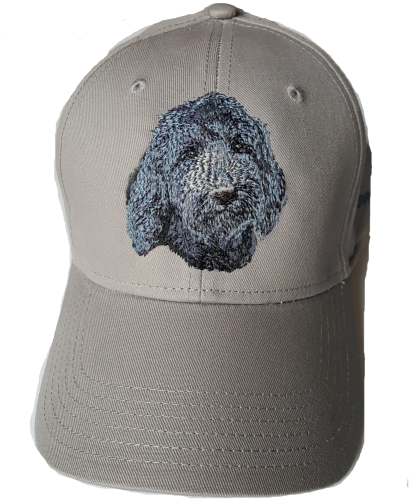 Goldendoodle or Labradoodle Dog Black Embroidered on a Grey Hat FREE USA SHIPPING