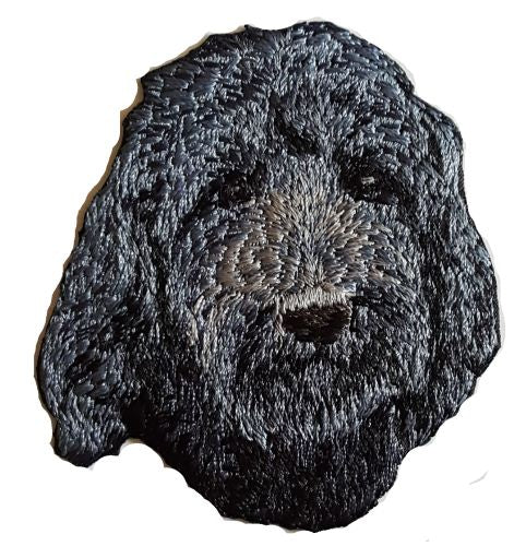 "Goldendoodle or Labradoodle Dog Black Embroidered Patch 3"" FREE USA SHIPPING"
