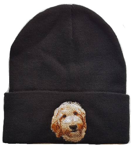 Goldendoodle or Labradoodle Cream Colored Dog Embroidered on a Black Beanie FREE USA SHIPPING