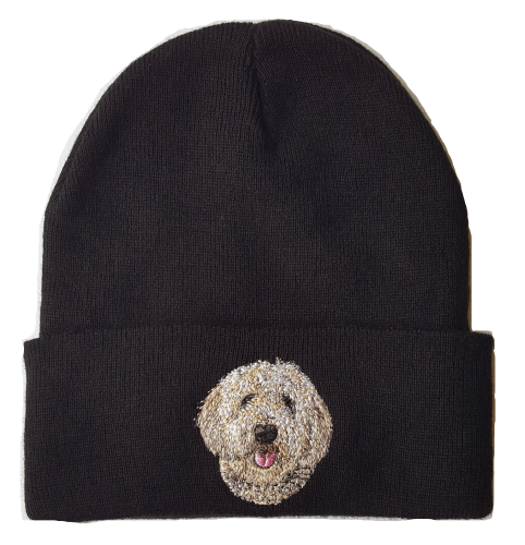 Goldendoodle Labradoodle Dog #2 Cream Colored Black Beanie Hat Free USA Shipping
