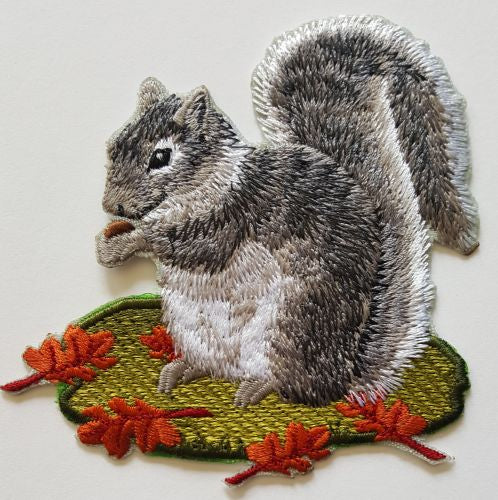 Squirrel, Gray, Embroidered Patch