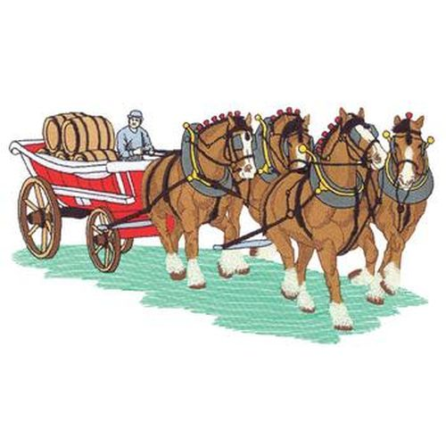 "Clydesdale, Draft Horse, Hitch Embroidered Patch Approx Size 10.5""x 5.9"""