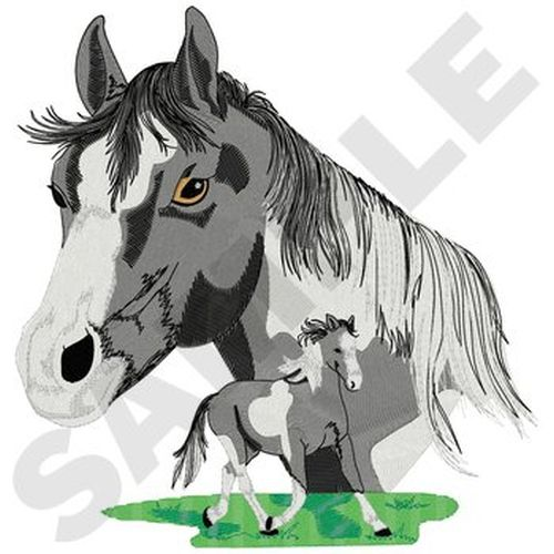 "Pinto (Black & White) Horses Embroidered Patch Approx Size 8"" x 8.3"""