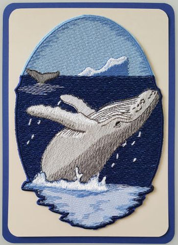 "Whale Humpback Embroidered Patch 4.9""x 6.9"" Free USA Shipping"