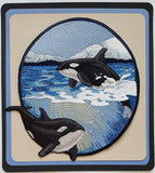 "Whale Orca Killer Whale Marine Nautical Embroidered Patch 7.7""x 8"""