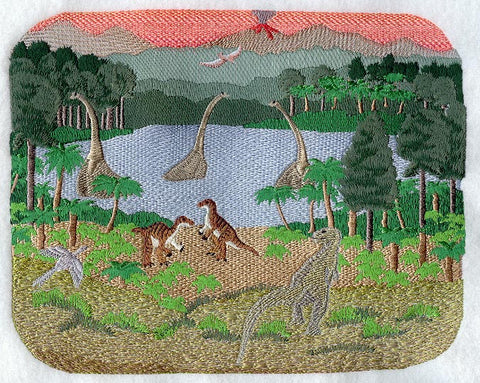 Dinosaur Scene Embroidered Patch