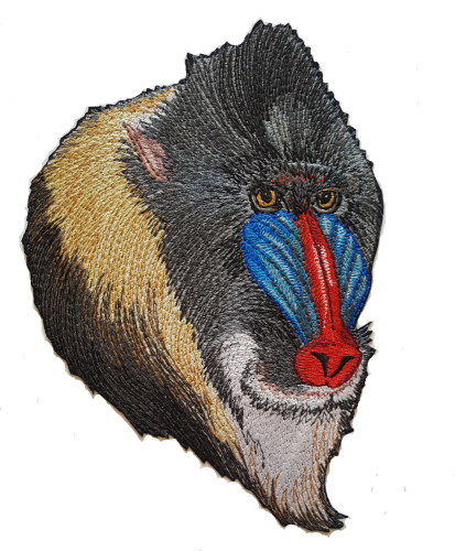 "Mandrill Head Primates Embroidered Patch 4.8""x 6.8"""