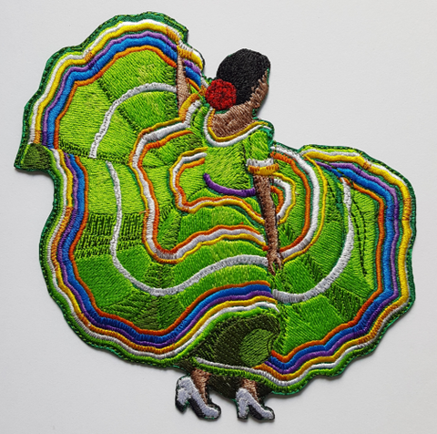 "Mexican, Spanish, Latina, Cuban Dancer Embroidered Patch 7"" x 6.9"" Free USA Shipping"
