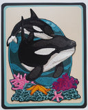 Whale Orca Killer Whales  Marine Nautical, Embroidered Patch 6.4 x  8.7